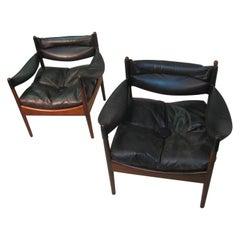 Pair of Kristian Solmer Vedel Midcentury Danish Rosewood and Leather Chairs