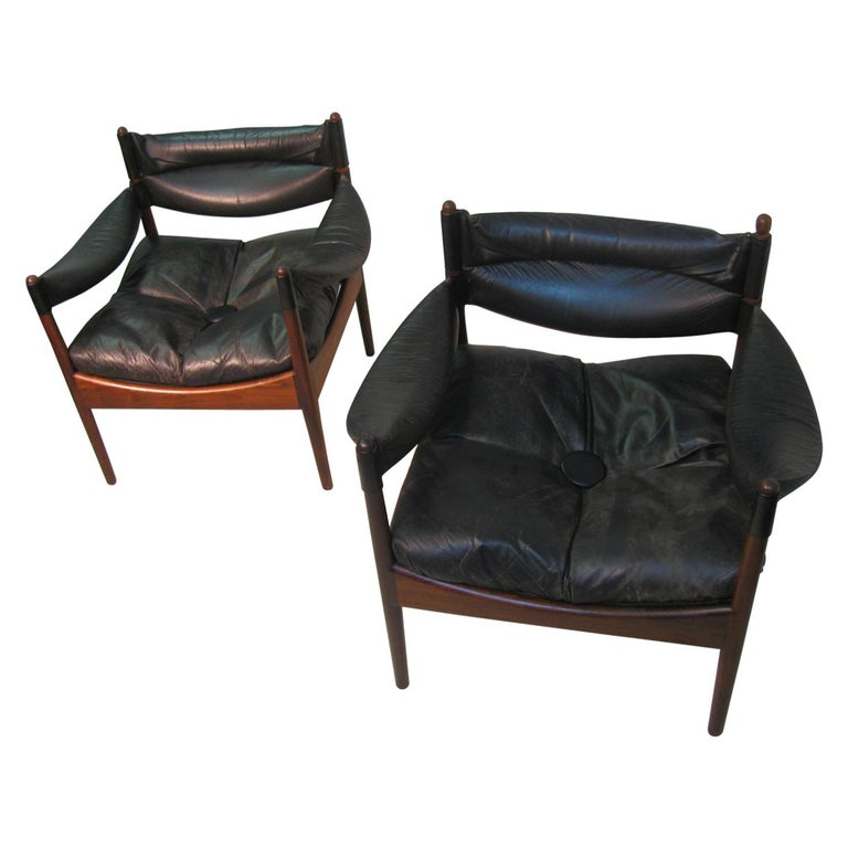 Pair Kristian Solmer Vedel Mid Century Modern Danish Rosewood and Leather Chai For Sale