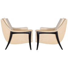 Pair of Kroehler Clean Modernist Sculptural Form Chairs, Restored