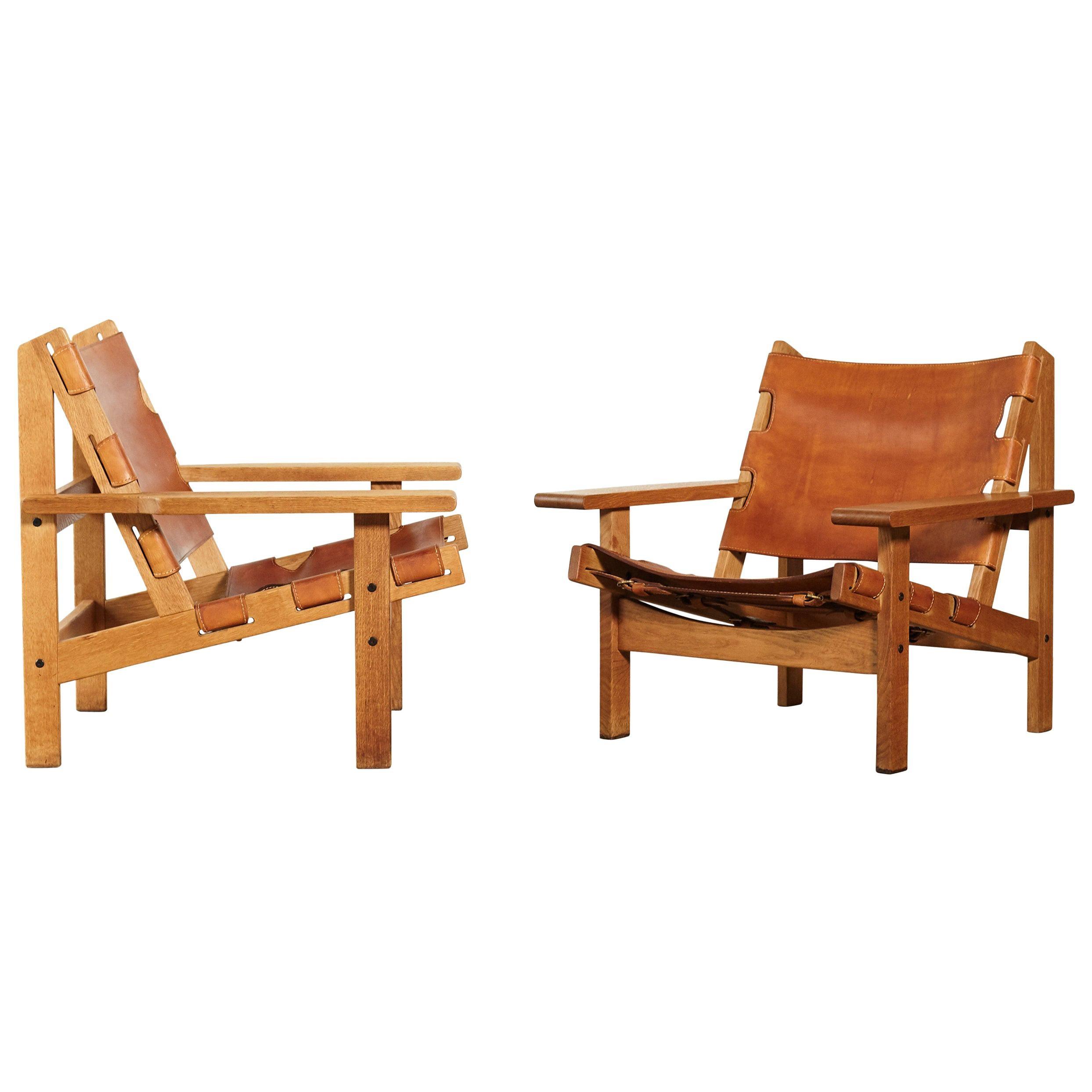 Pair of Kurt Ostervig / Erling Jessen Hunting Chairs, Denmark, 1960s