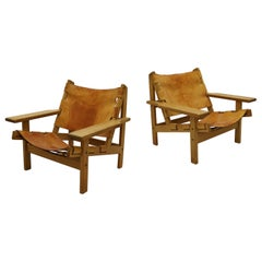 Kurt Østervig Pair of Scandinavian Modern Hunting Chairs in Oak & Saddle Leather