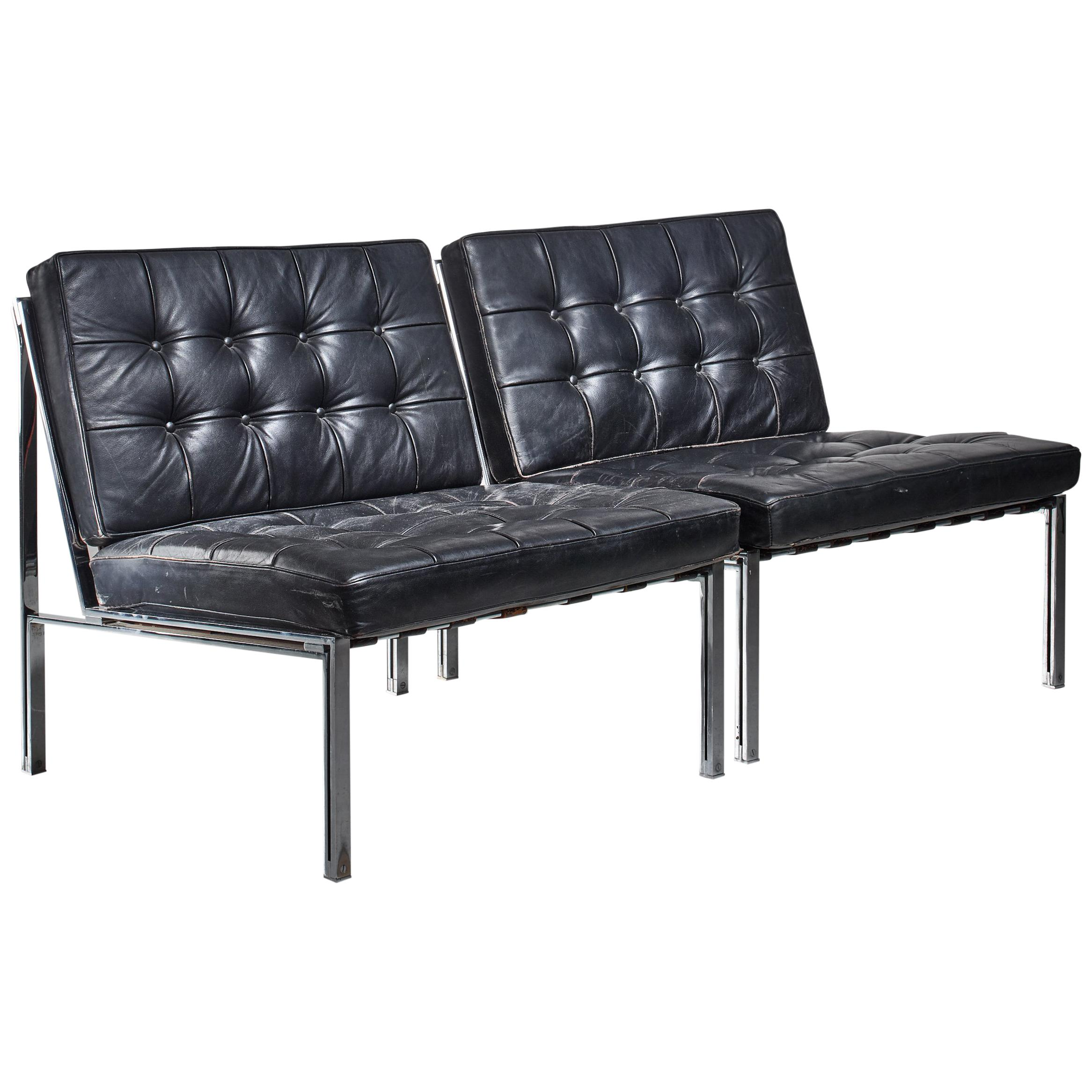 Pair of Kurt Thut Side Chairs with Black Leather Tufted Cushions