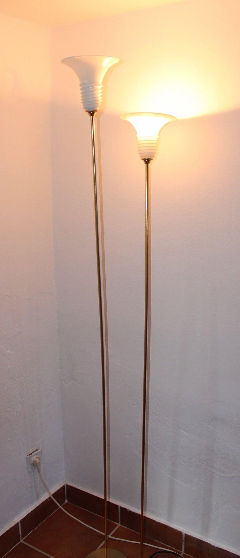 Mid-Century Modern Pair of La Murina Brass Floor Lamps For Sale