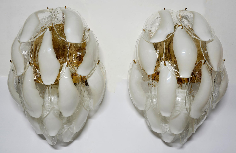 Pair of La Murrina Brass and Murano Glass Italian Sconces, 1980s im ...