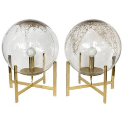 Pair of La Murrina Murano Glass Globes and Brass Table Lamps