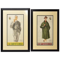 Pair of La Sartotecnica Milano Vintage Advertisement Fashion Prints Lady & Man
