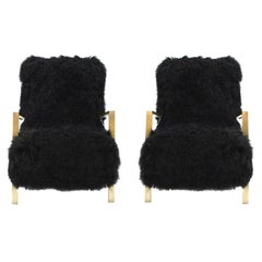 Pair of L.A. Studio Contemporary Modern Black Mongolian Goat Italian Armchairs