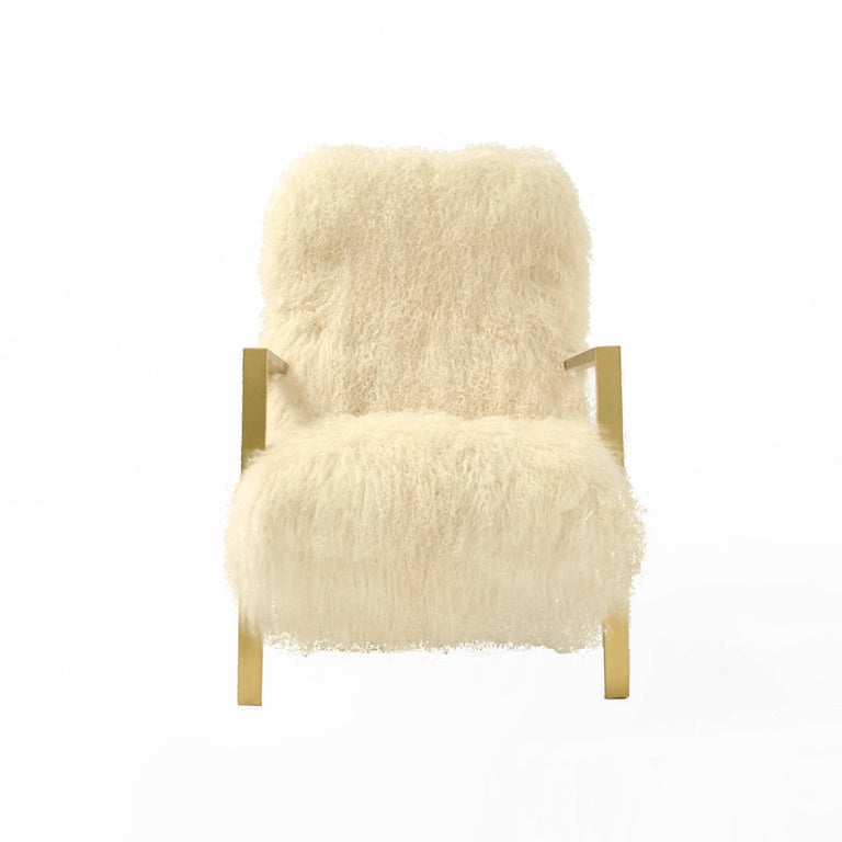 Mid-Century Modern Pair of L.A. Studio Contemporary Modern White Mongolian Goat Italian Armchairs For Sale