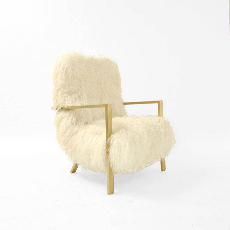 Spanish Pair of L.A. Studio Contemporary Modern White Mongolian Goat Italian Armchairs For Sale
