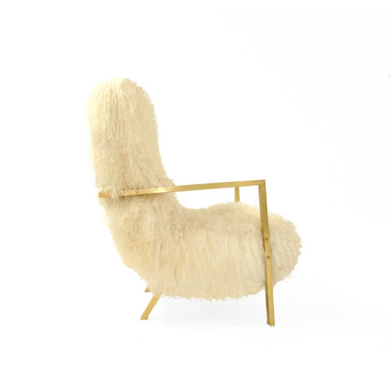Pair of L.A. Studio Contemporary Modern White Mongolian Goat Italian Armchairs In Excellent Condition For Sale In Madrid, ES