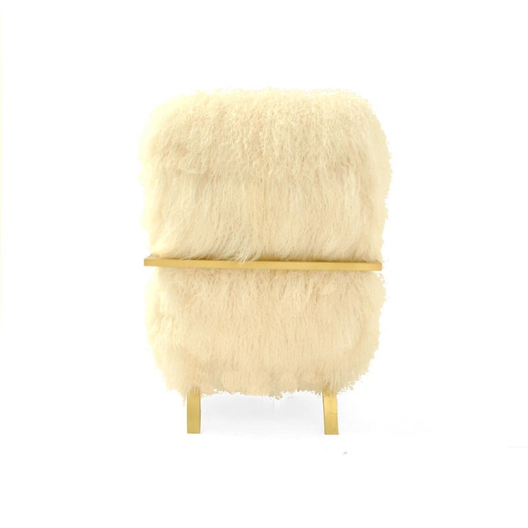Brass Pair of L.A. Studio Contemporary Modern White Mongolian Goat Italian Armchairs For Sale