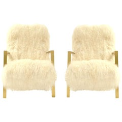 Pair of L.A. Studio Contemporary Modern White Mongolian Goat Italian Armchairs