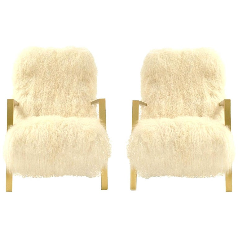 Pair of L.A. Studio Contemporary Modern White Mongolian Goat Italian Armchairs For Sale