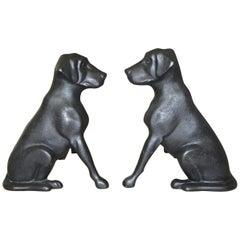 Pair of Labrador Dog Fireplace Andirons