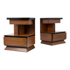 Pair of Lacquered Mid-Century Modern Style Nightstands