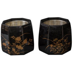 Pair of Lacquer Hibachi with Silvered Linings