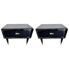 Pair of Lacquered and Brass Nightstands by Vittorio Dassi, Italy, 1950s