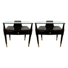 Pair of Lacquered and Brass Side Table, Italy, 1950s