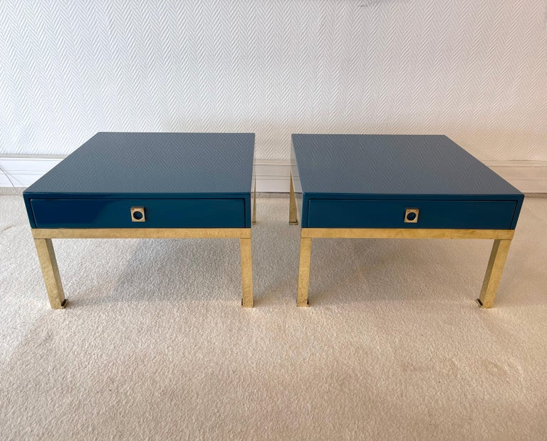 Pair of Lacquered and Brass Side Tables by Guy Lefevre, France, 1970s For Sale 4