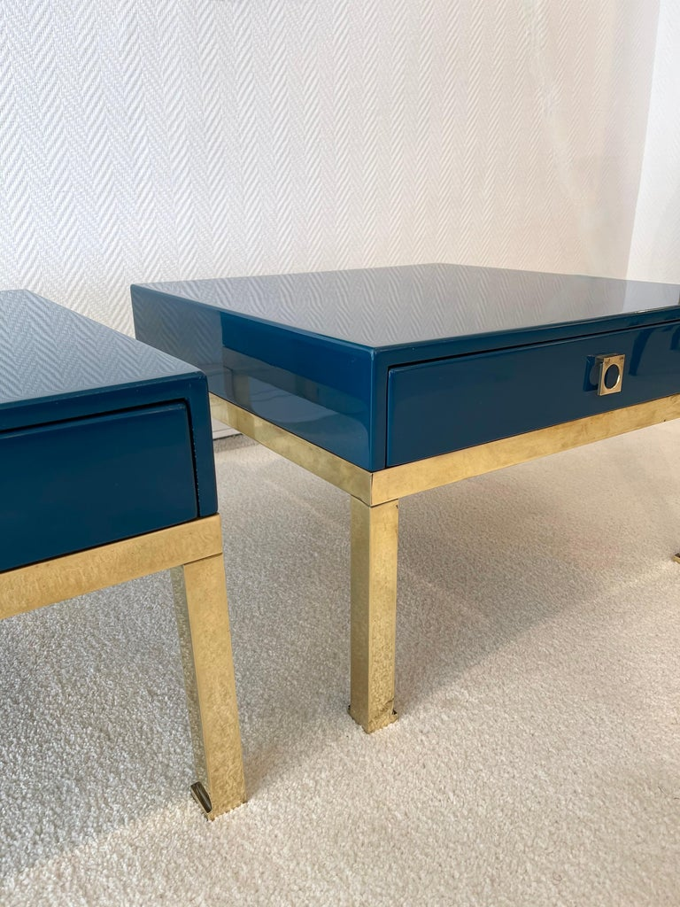 Mid-Century Modern Pair of Lacquered and Brass Side Tables by Guy Lefevre, France, 1970s For Sale