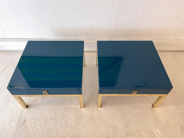 Pair of Lacquered and Brass Side Tables by Guy Lefevre, France, 1970s For Sale 1