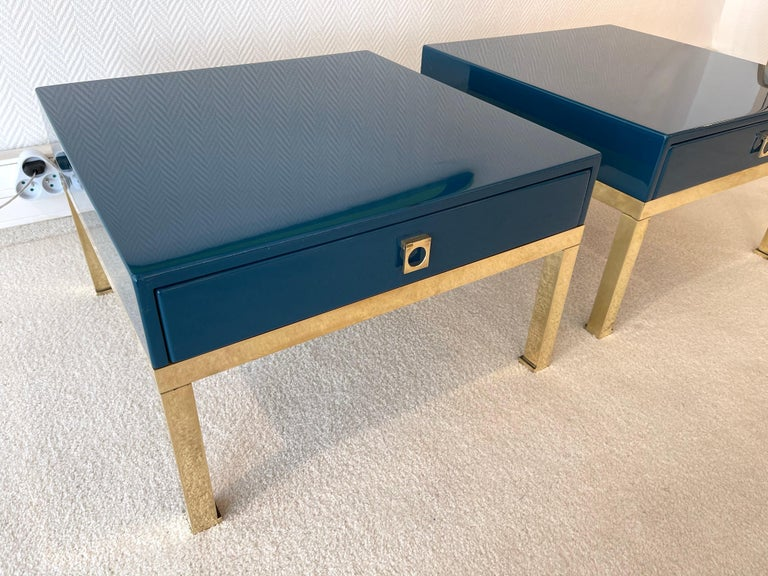 Pair of Lacquered and Brass Side Tables by Guy Lefevre, France, 1970s For Sale 2