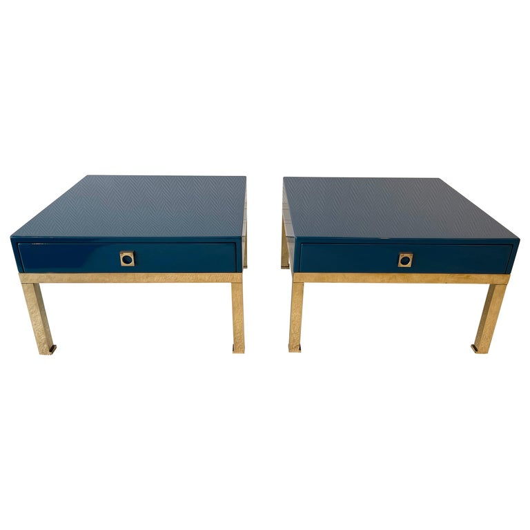 Pair of Lacquered and Brass Side Tables by Guy Lefevre, France, 1970s For Sale