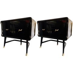 Pair of Lacquered and Bronze End Tables by Vittorio Dassi, Italy, 1950s