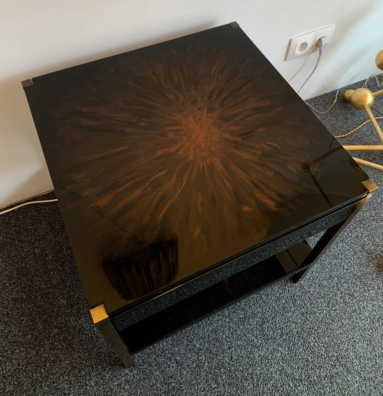 Pair of Lacquered and Bronze Tables by Maison Charles, France, 1970s For Sale 4