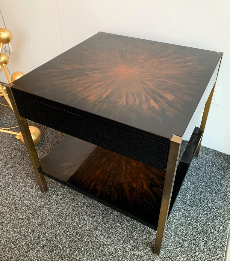 Mid-Century Modern Pair of Lacquered and Bronze Tables by Maison Charles, France, 1970s For Sale