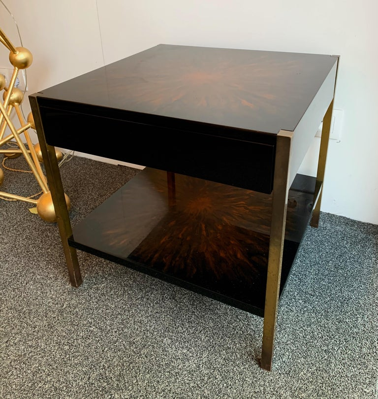 French Pair of Lacquered and Bronze Tables by Maison Charles, France, 1970s For Sale