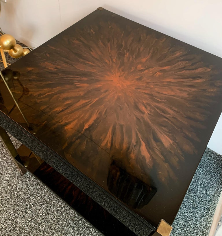 Pair of Lacquered and Bronze Tables by Maison Charles, France, 1970s In Good Condition For Sale In SAINT-OUEN, FR