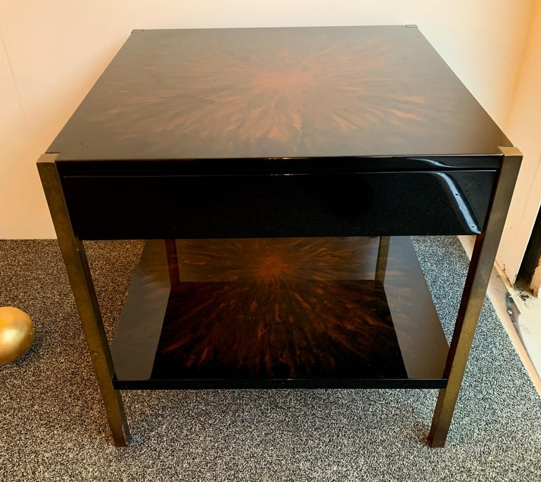 Late 20th Century Pair of Lacquered and Bronze Tables by Maison Charles, France, 1970s For Sale