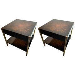 Pair of Lacquered and Bronze Tables by Maison Charles, France, 1970s
