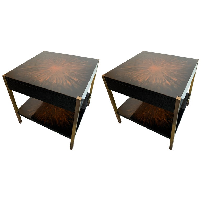 Pair of Lacquered and Bronze Tables by Maison Charles, France, 1970s For Sale