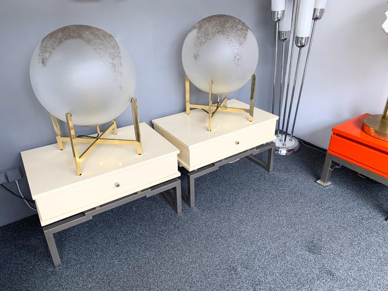 Pair of Lacquered and Metal Chrome Side Tables by Mario Sabot. Italy, 1970s For Sale 4
