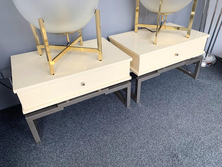 Pair of Lacquered and Metal Chrome Side Tables by Mario Sabot. Italy, 1970s For Sale 2