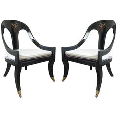 Pair of Lacquered and Mother of Pearl Inlaid Spoon Back Chairs