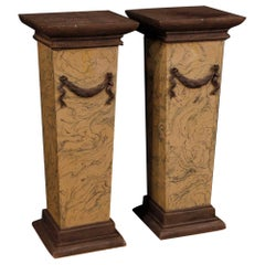 Pair of Lacquered and Painted Italian Columns, 20th Century