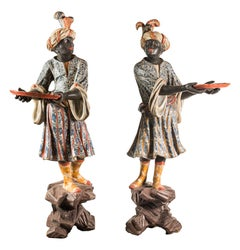 Pair of Lacquered and Painted Wood Blackamoor Sculptures, Venice, 18th Century