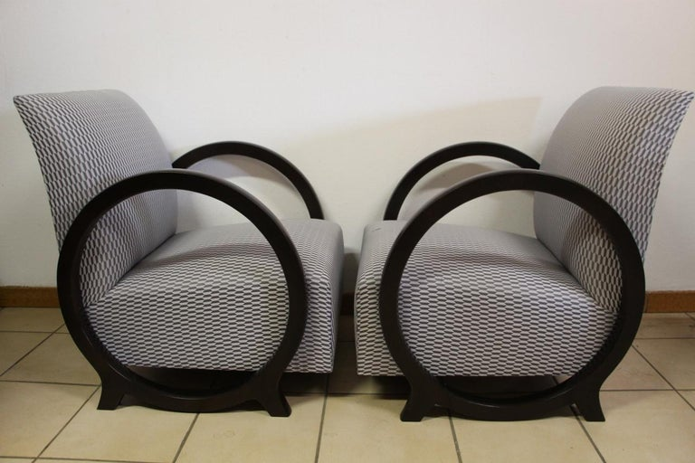 Pair of lacquered wood armchairs, in perfect condition, restored and refurbished to nine in Art Deco style.