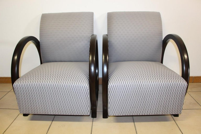 French Pair of Lacquered Art Deco Armchairs  For Sale