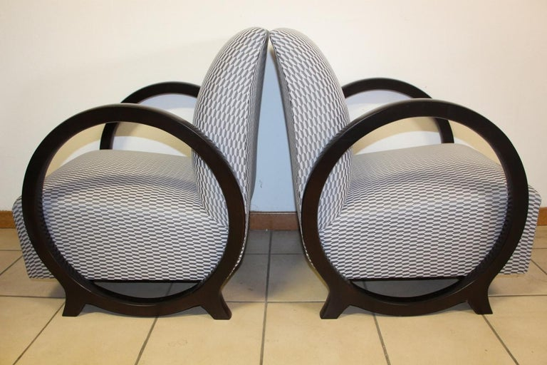 Pair of Lacquered Art Deco Armchairs  In Excellent Condition For Sale In charmes, FR