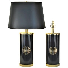 Pair of Lacquered Brass Table Lamps with Chinese Character