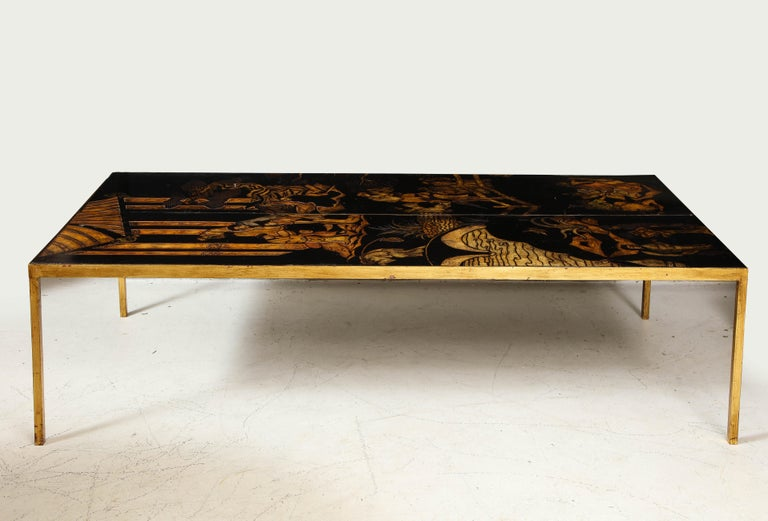 20th Century Lacquered Chinoiserie Coffee Table on Gilt-Iron Base