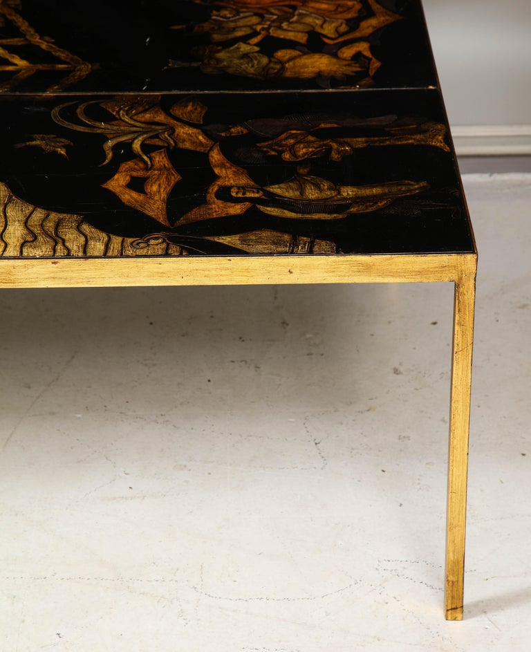 Lacquered Chinoiserie Coffee Table on Gilt-Iron Base 1