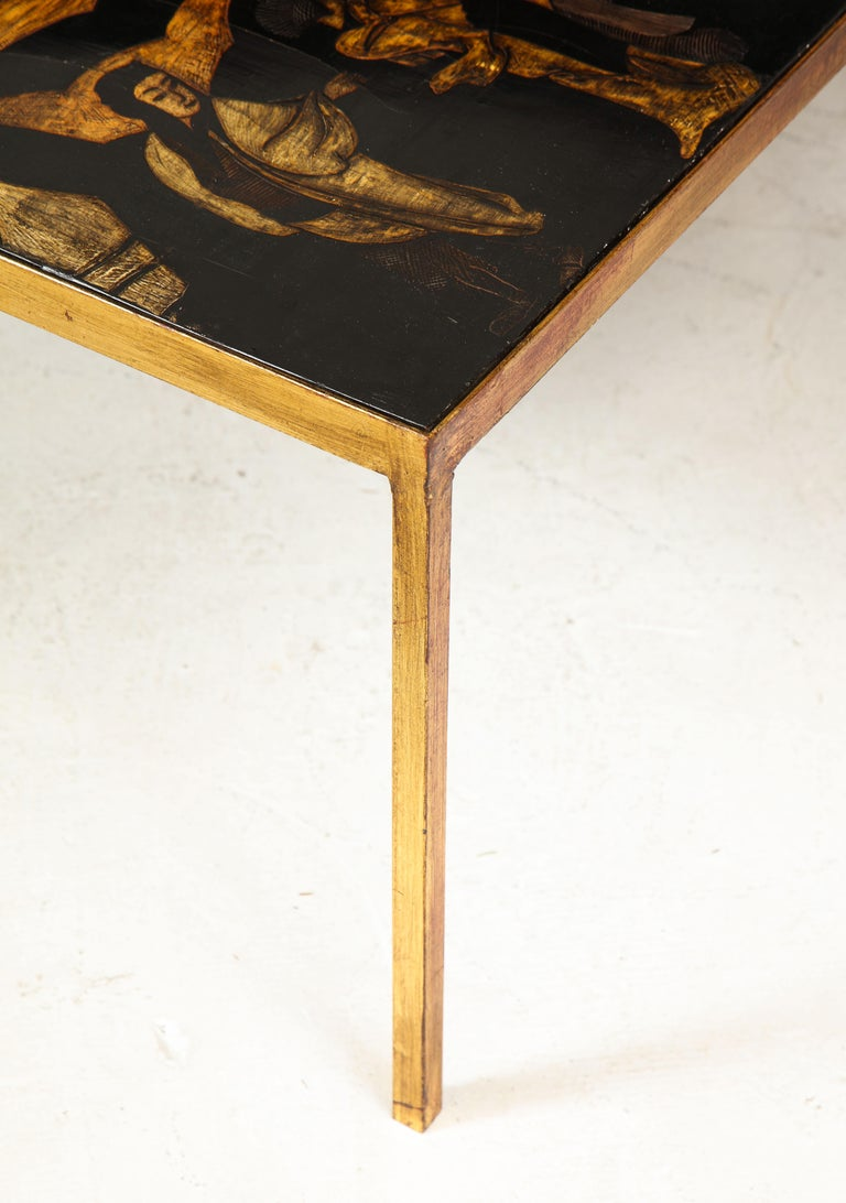 Lacquered Chinoiserie Coffee Table on Gilt-Iron Base 2