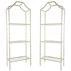 Pair of Lacquered Faux Bamboo Étagères with Glass Shelves