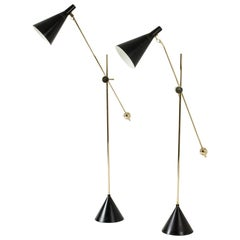 Pair of Lacquered Metal and Brass Floor Lamps by Tapio Wirkkala for Idman Oy
