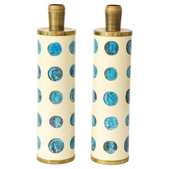 Pair of Lacquered Metal Lamps by Piero Fornasetti